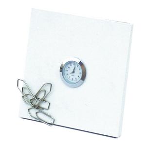OZN Produz Presentes Corporativos - Relógio e porta clips de mesa com grande área para intervenções gráficas.