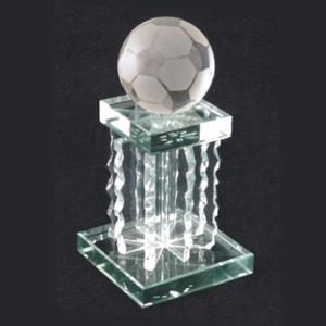ozn-produz - Troféu modelo Futebol, produzido totalmente em vidro lapidado.