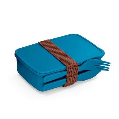Fibra de bambu e PP. Com 2 talheres: garfo e faca. Fecha com banda elástica. Apto para microondas...
