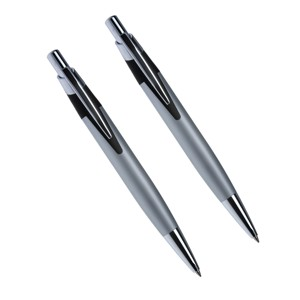 Conjunto de caneta e lapiseira prata com detalhes em preto e cromado