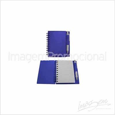 Bloco de capa plástica com caneta. Cores AZ / PT / VD / VM / LR