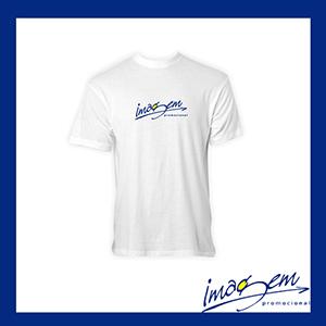 Camiseta branca em algodão com a gola careca