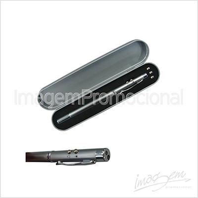 Caneta de metal com led, laser e bastão em embalagem de metal.