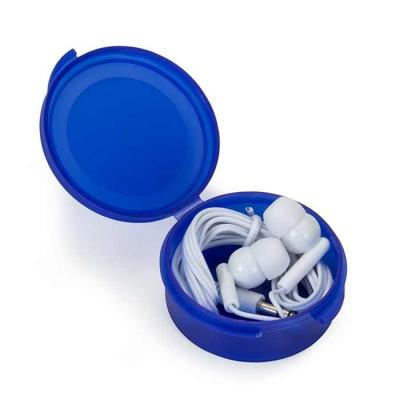 Fone de ouvido intra-auricular, caixinha redonda de material plástica fosco inteiro colorido. Com...