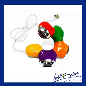 Hub colorido com 4 portas USB