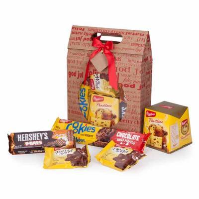 1 Hershey's Mais 115g 2 Pão de mel Bauducco 30g 1 Cookies Bauducco 96g 1 Maleta em papel cartão k...