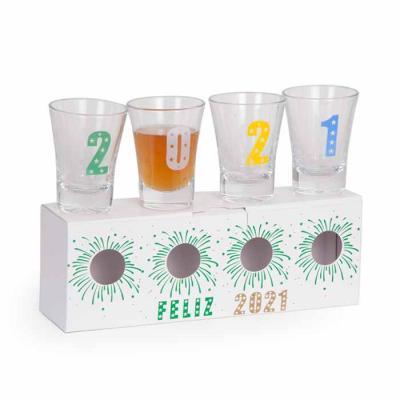 4 Copos Shot de vidro 60ml CF70133700 1 Embalagem em papel cartão 21.5x5.5x7.5cm CF48191000 Peso ...