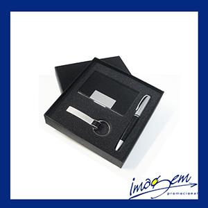 Conjunto contendo porta-cartão + caneta er133b-cro + chaveiro