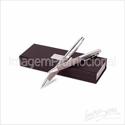 Conjunto de caneta e lapiseira em metal. Cores disponíveis: CN / PT / CF