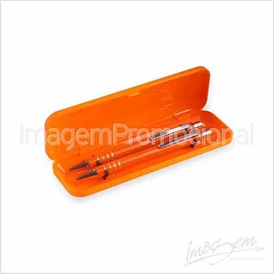 Conjunto de caneta e lapiseira em metal, cores disponíveis - VM / AZ / VD / PT / LR / PTA / BC