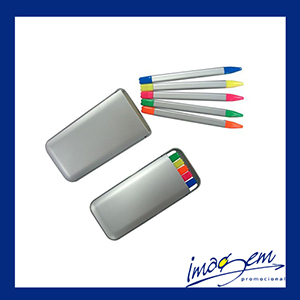 Kit canetas marca-texto 5 cores com estojo prata