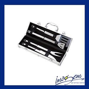 imagem-promocional - Kit churrasco com 04 peças com maleta