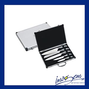 imagem-promocional - Kit de facas para churrasco contendo 5 peças acompanha linda maleta