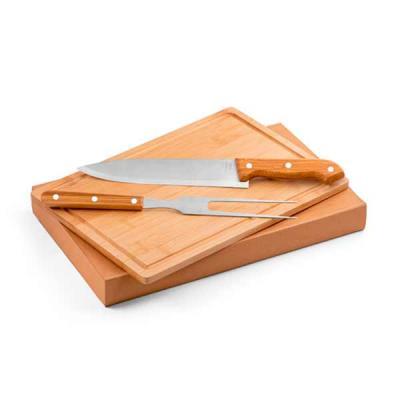 Aço inox e bambu. Tábua e 2 peças em caixa kraft. Food grade. Caixa: 360 x 210 x 40 mm | Tábua: 3...