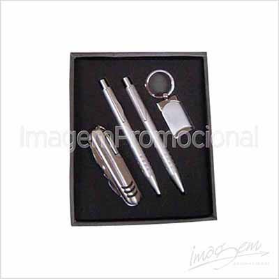 Kit escritório em caixa de papel com visor com caneta, lapiseira, chaveiro e canivete