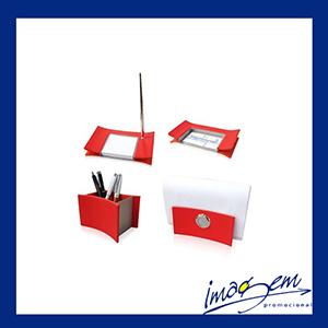 Kit executivo em couro vermelho - Imagem Promocional