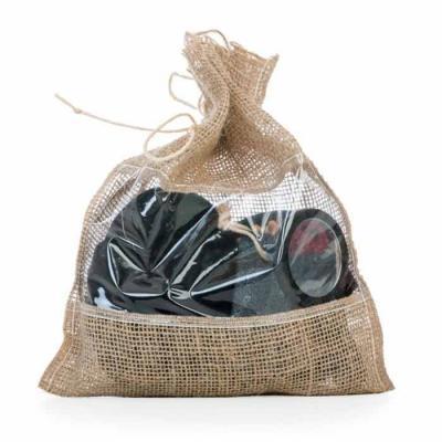 Kit banho ecológico 4 peças, embalagem saco de Juta com visor plástico. Possui esponja para banho...