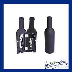 Kit vinho com 3 peças embalagem de garrafa preta