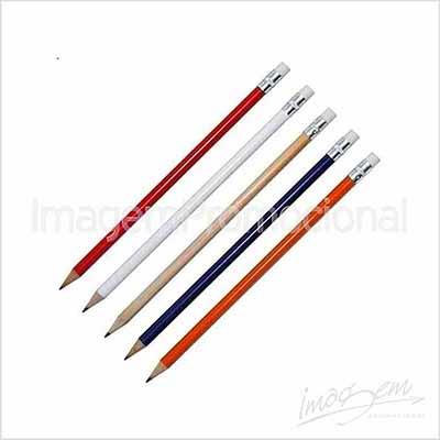 Lápis com borracha, cores disponíveis: AZ/ VD/ LR/ BC /PT / VM/ NATURAL