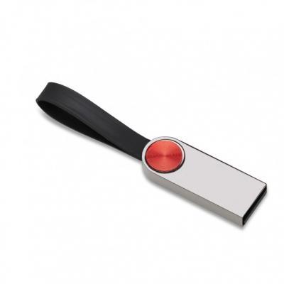 Pen drive metálico na cor grafite com detalhe circular vermelho na parte frontal e verso liso, po...