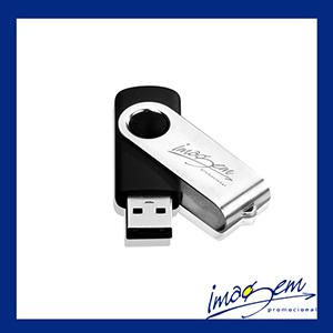 Pen drive giratório de metal, preto com prata, capacidade para armazenar 8gb
