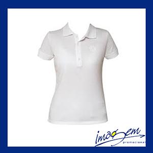 Camisa pólo feminina na cor branca - Imagem Promocional