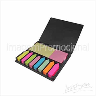 Porta bloco com bloquinhos adesivos, cores PT/ AZ / VM / VD - Imagem Promocional