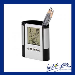 Porta-caneta plástico com relógio calendário e termômetro na cor preta