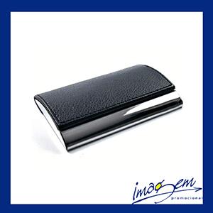 Imagem Promocional - Porta-cartão em metal com couro preto