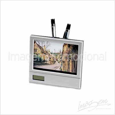 Porta retrato plástico tamanho 10x15, com relógio e porta caneta