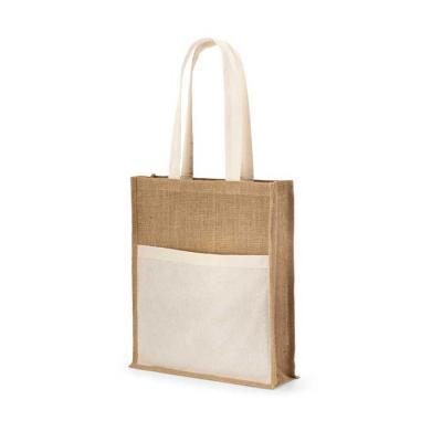 Juta: 240 g/m². Bolso frontal 100% algodão: 140 g/m². Alças de 65 cm. 370 x 410 x 100 mm | Bolso:...