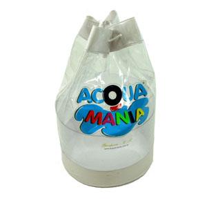 Eletroplast - Mochila promocional em PVC cristal, com tarja superior, inferior e fundo em PVC camurça colorido e cordão com fecho.