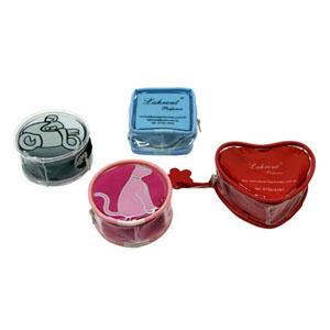 Necessaire personalizada porta-moeda redonda, quadrado e coração em PVC cristal com zíper de tecido (outras medidas, materiais e detalhes sob consulta).