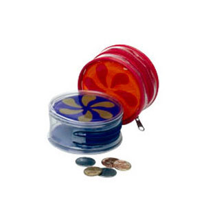 Eletroplast - Necessaire porta-moeda personalizada em PVC cristal, com zíper de tecido e vivo de PVC colorido (outras medidas, materiais e detalhes sob consulta).