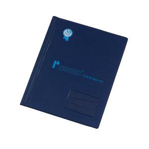 Pasta-catálogo personalizada em PVC camurça, tamanho ofício com ou sem saquinhos de polietileno (outras medidas, materiais e detalhes sob consulta).