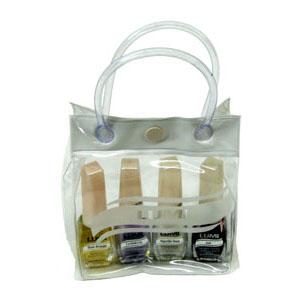 Eletroplast - Sacola promocional em PVC cristal e tarja em PVC camurça colorido, com alça de mão em mangueira de PVC e botão de pressão.