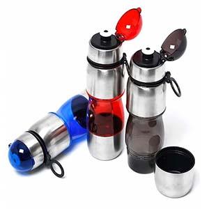 classic-pen-brindes - Squeeze plástica com detalhe em metal