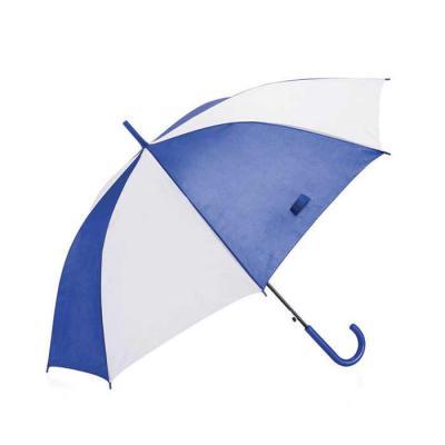Guarda-chuva colorido com detalhes branco e tecido de nylon, basta acionar o botão inferior para ...
