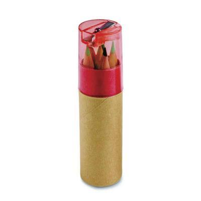 classic-pen-brindes - Caixa de cartão com 6 mini lápis de cor