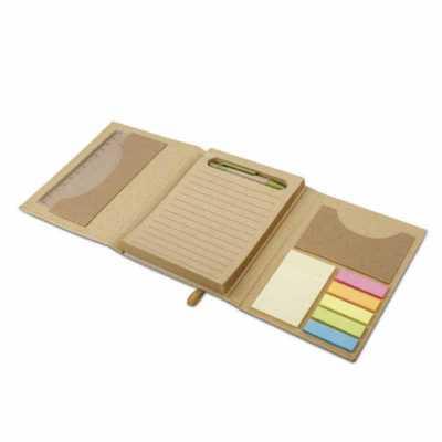 Kit para escritório personalizado para brindes com caderno (80 folhas pautadas em papel reciclado), 6 blocos adesivados (25 folhas cada), 1 régua de 1... - Classic Pen Brindes