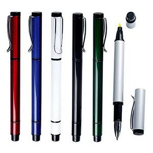 classic-pen-brindes - Caneta personalizada de metal com marca-texto, peso: 19 g, diversas cores.