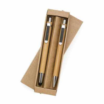 Conjunto caneta touch e lapiseira de bambu - Classic Pen Brindes