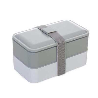 classic-pen-brindes - Marmita de plastico com 2 compartilhamentos e talheres personalizada