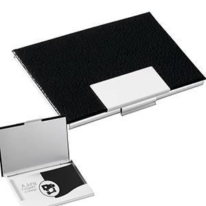 Classic Pen Brindes - Porta-cartão de alumínio com couro sintético
