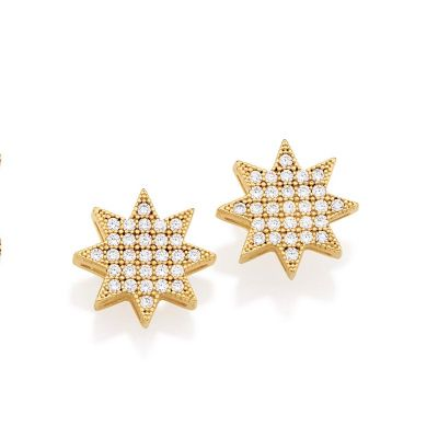 MKorn - Par de brincos estrela folheado a ouro e pedras de zircônia