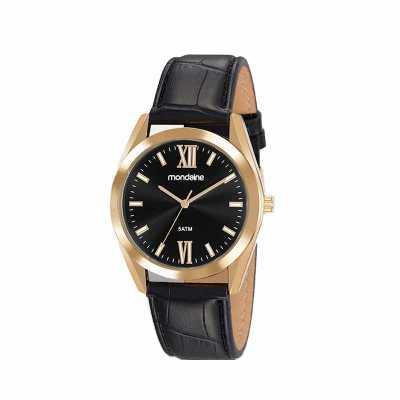 - Relógio de pulso Mondaine análogo quartz, mostrador preto, com index, pulseira de couro, resistente a água.  - Garantia de 1 ano - Embalagem de plásti...