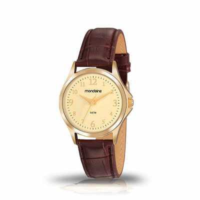 mkorn - Relógio de pulso Mondaine análogo quartz , mostrador com números arábicos, pulseira de couro, resistente a água.  - Resistente a água  - Garantia de 1...
