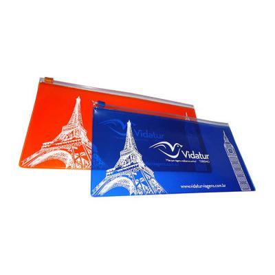 Estojo zip zap porta voucher, produzido em pvc allklear 040mm color, zip zap, cursor plástico, 27x14cm - Galeon Brindes e Embalagens Pr...