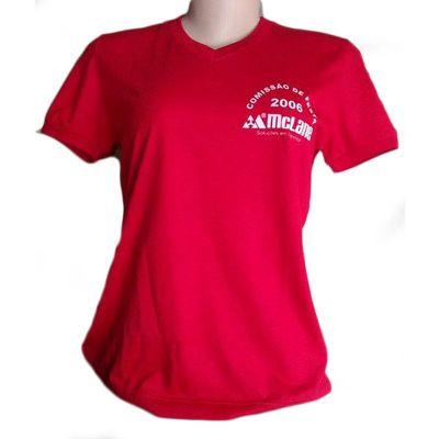 Galeon Brindes e Embalagens Promocionais - Camiseta feminina decote em V. Malha PV, punho mesma cor decote e nas mangas