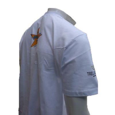 Galeon Brindes e Embalagens Promocionais - Camiseta masculina em malha com gola careca e estampas em silk-screen.